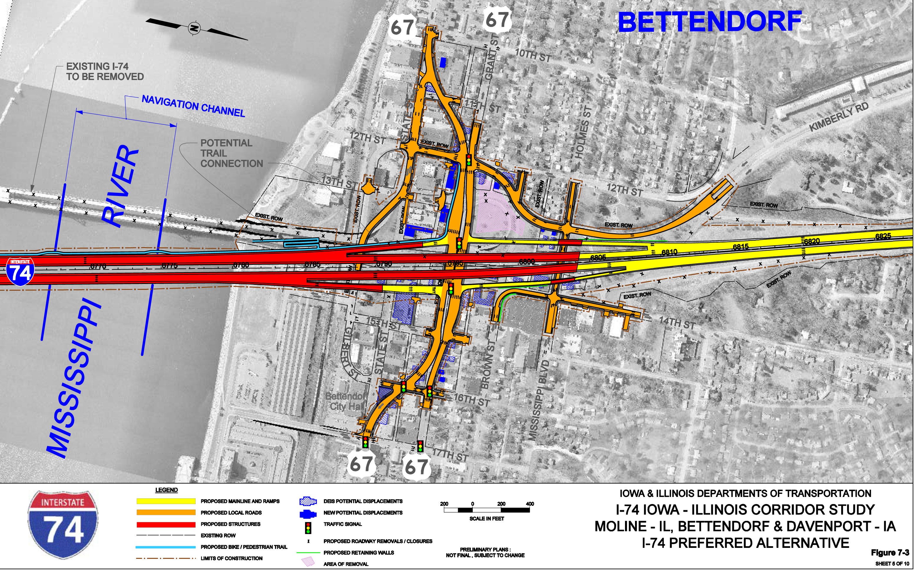 Driving directions to I74 Bridge Replacement Project Area